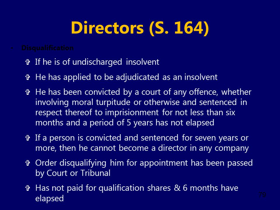 Directors (S. 164) If he is of undischarged insolvent