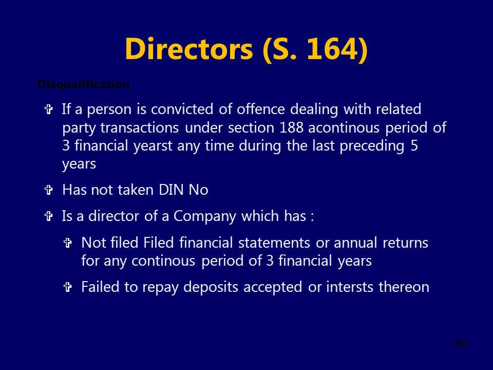 Directors (S. 164) Disqualification.
