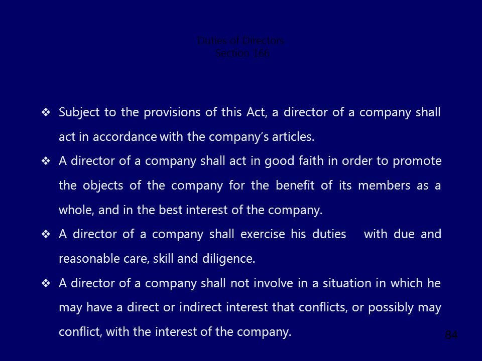 Duties of Directors Section 166