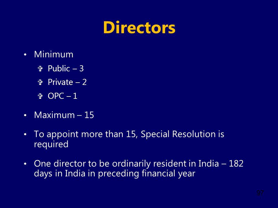 Directors Minimum Maximum – 15