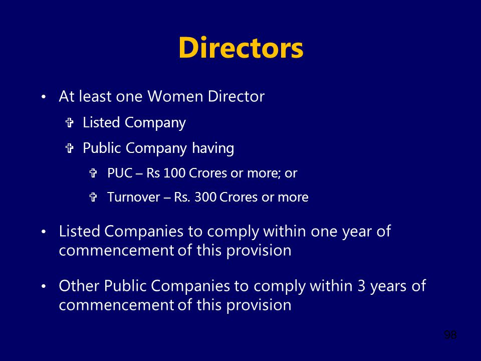 Directors At least one Women Director
