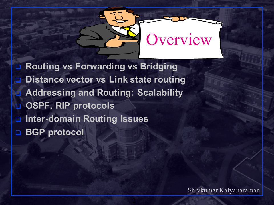 Overview Routing vs Forwarding vs Bridging