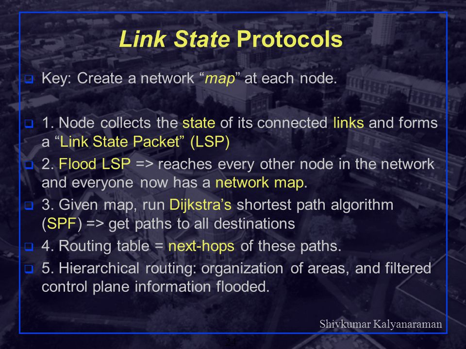 Link State Protocols Key: Create a network map at each node.