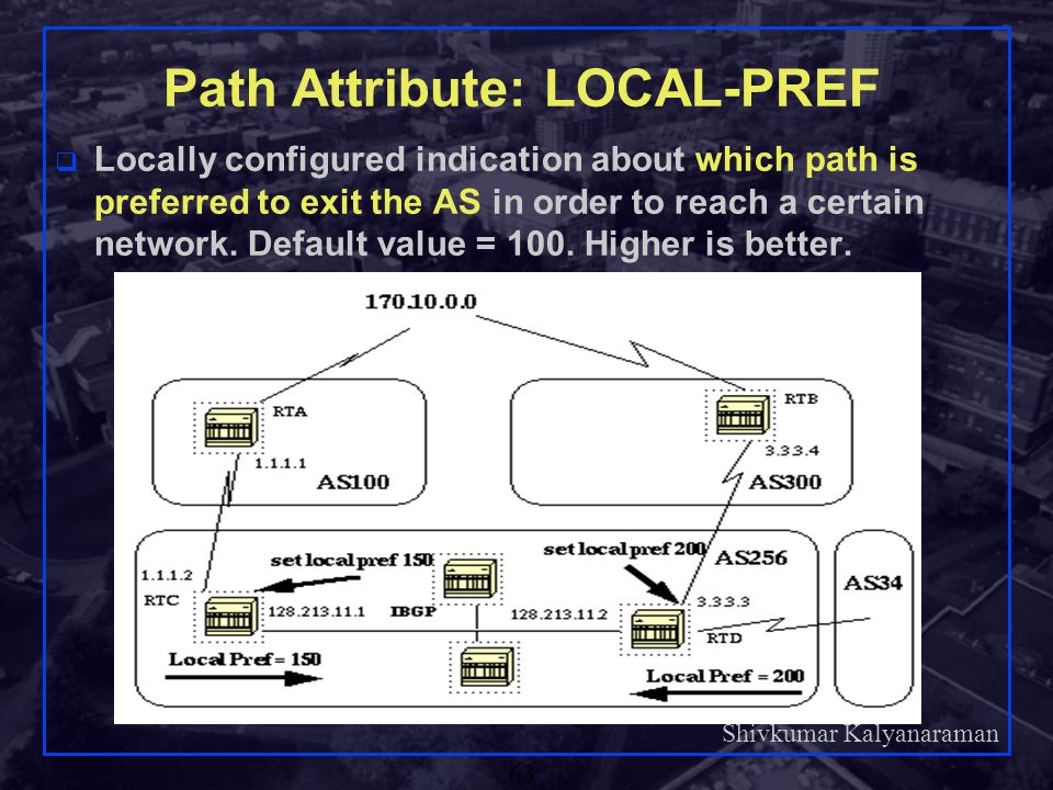 Path Attribute: LOCAL-PREF