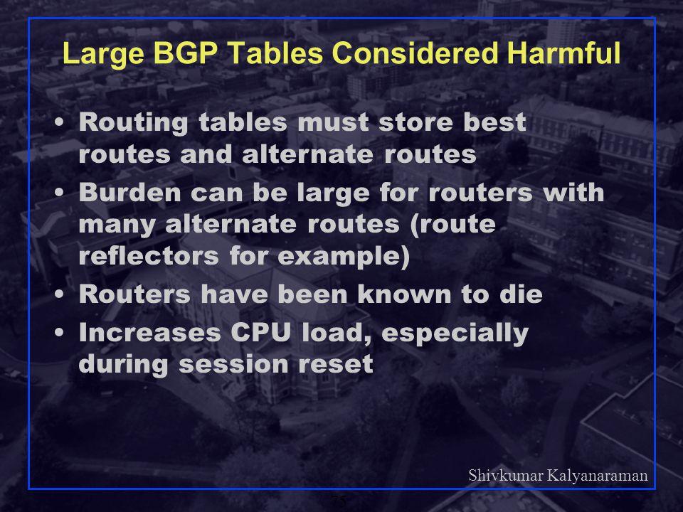 Large BGP Tables Considered Harmful