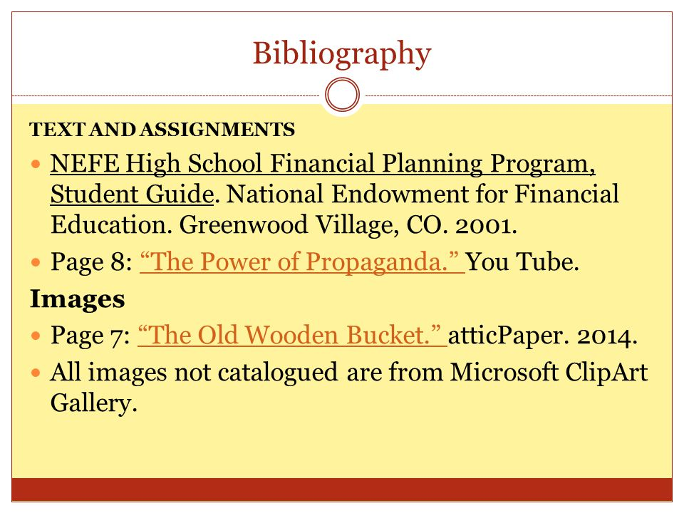 Bibliography TEXT AND ASSIGNMENTS.