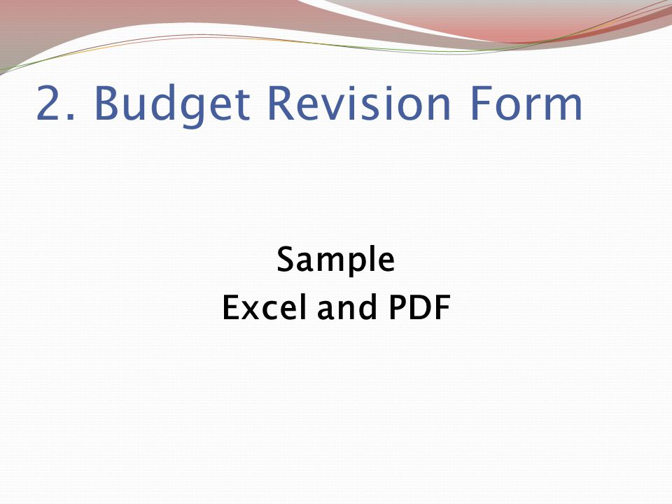 2. Budget Revision Form Sample Excel and PDF
