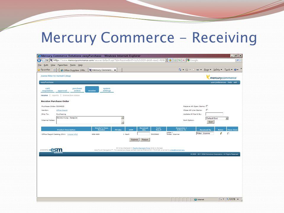 Mercury Commerce - Receiving