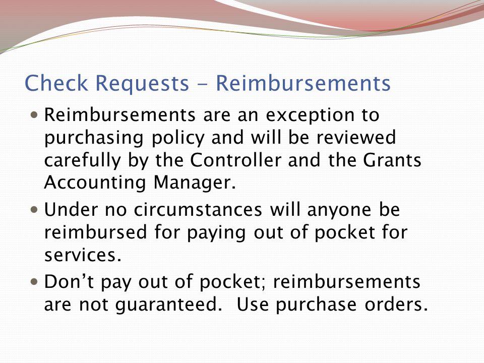 Check Requests - Reimbursements