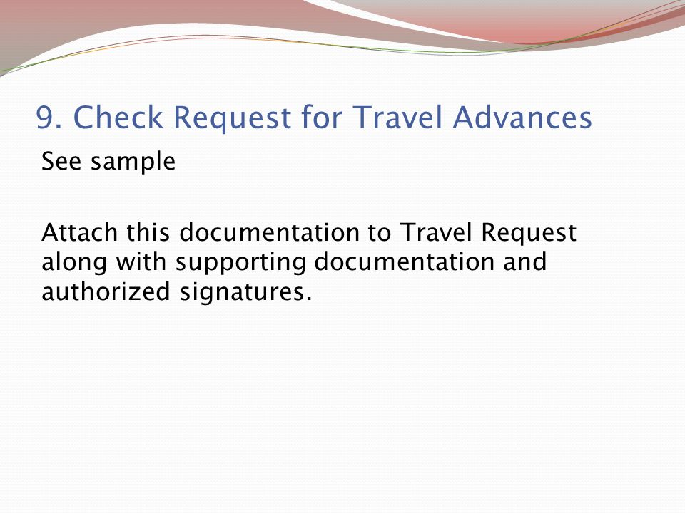 9. Check Request for Travel Advances