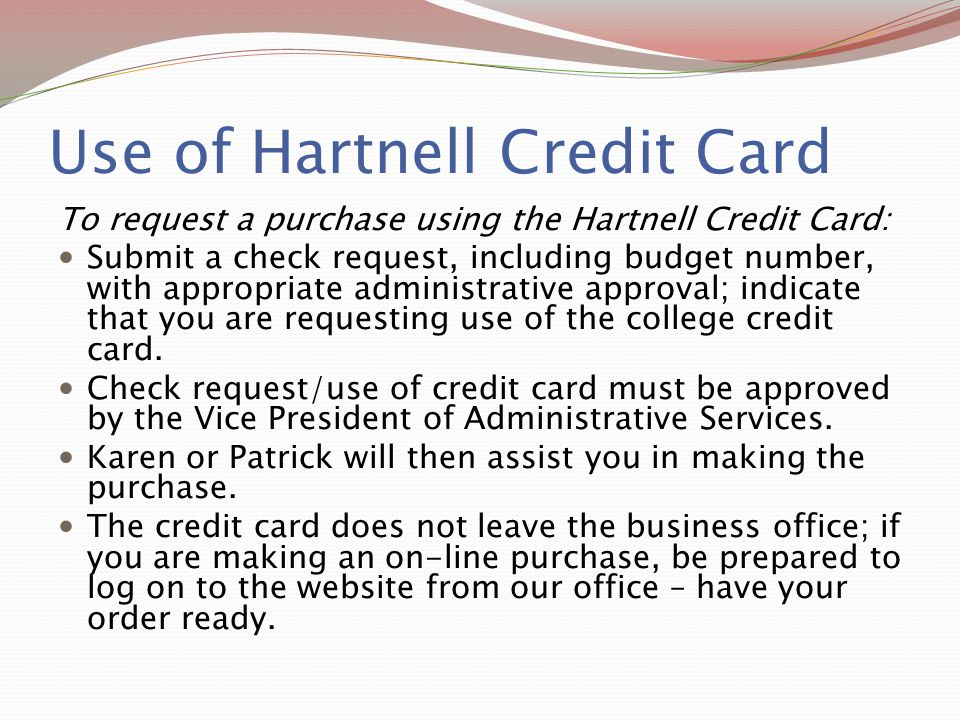 Use of Hartnell Credit Card