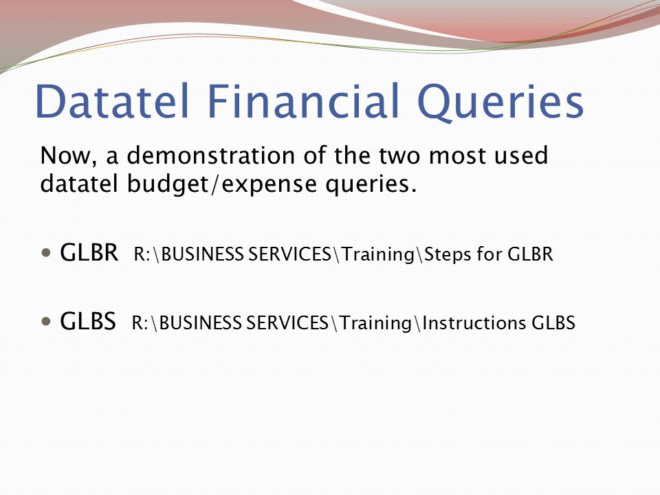 Datatel Financial Queries
