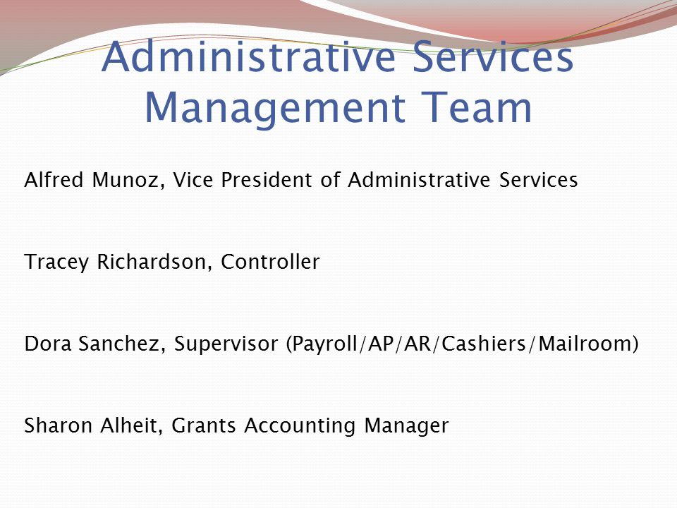 Administrative Services Management Team