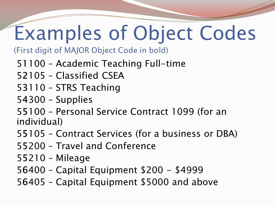 Examples of Object Codes (First digit of MAJOR Object Code in bold)