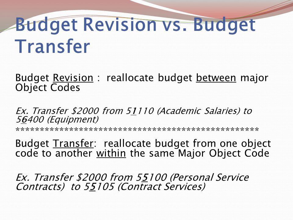 Budget Revision vs. Budget Transfer