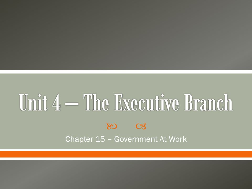 Unit 4 – The Executive Branch
