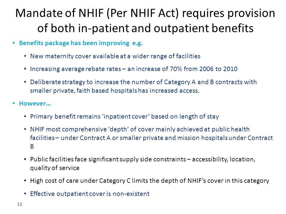 Mandate of NHIF (Per NHIF Act) requires provision of both in-patient and outpatient benefits