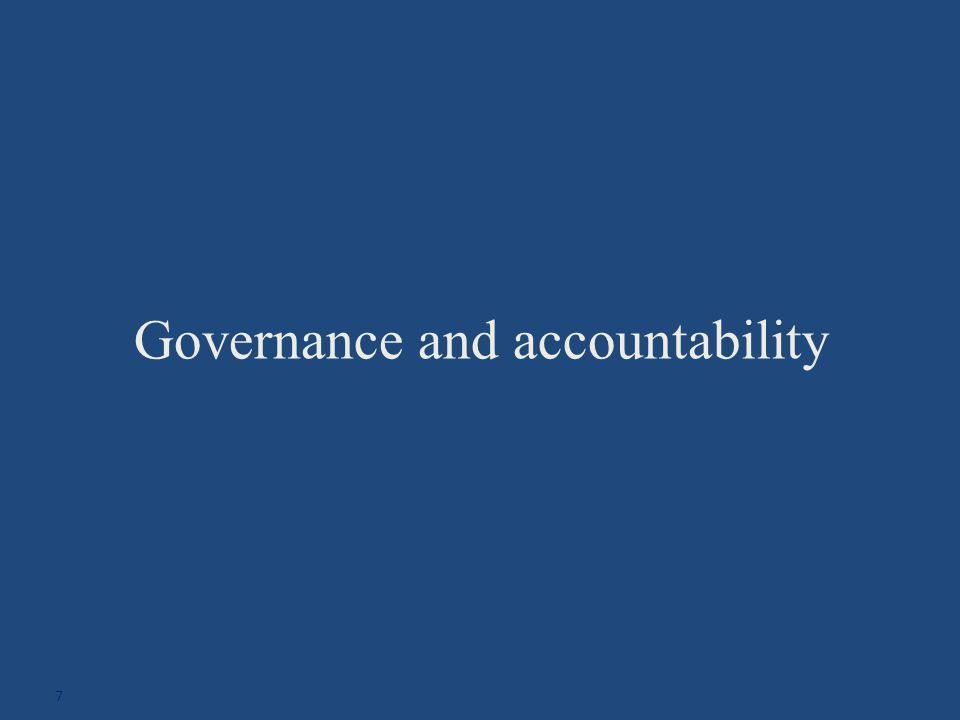 Governance and accountability