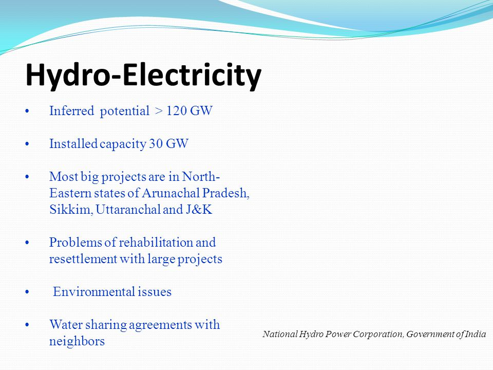 Hydro-Electricity Inferred potential > 120 GW