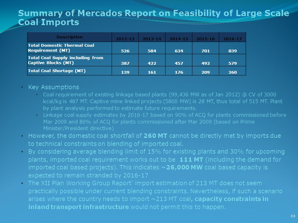 Summary of Mercados Report on Feasibility of Large Scale Coal Imports