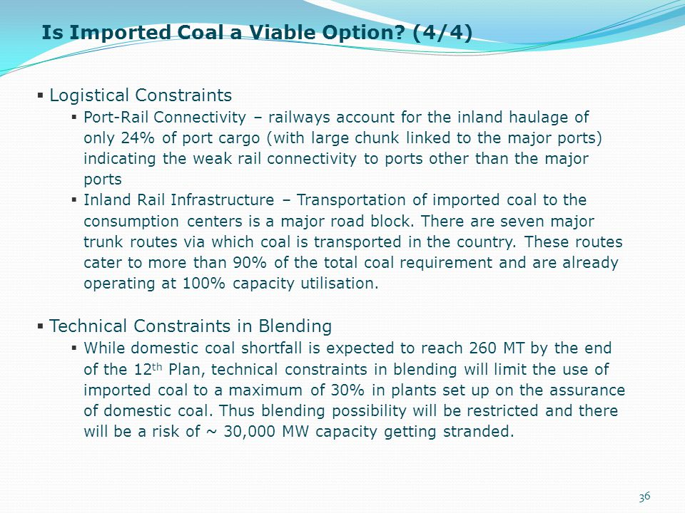 Is Imported Coal a Viable Option (4/4)