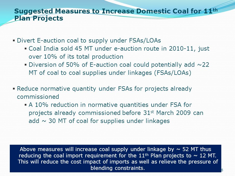 Suggested Measures to Increase Domestic Coal for 11th Plan Projects