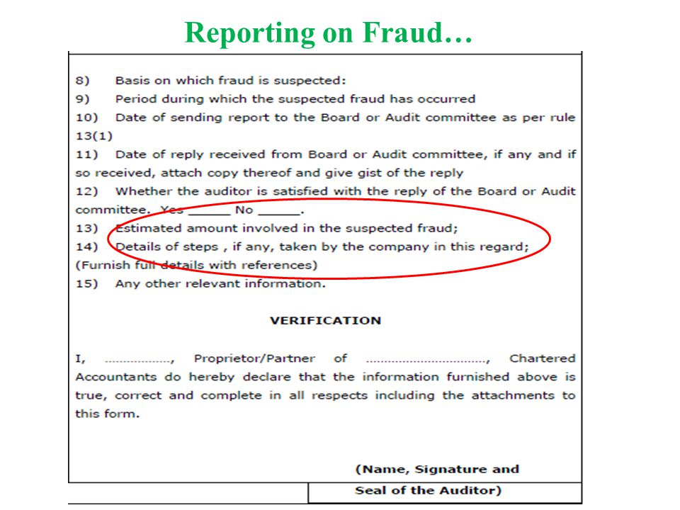 Reporting on Fraud…