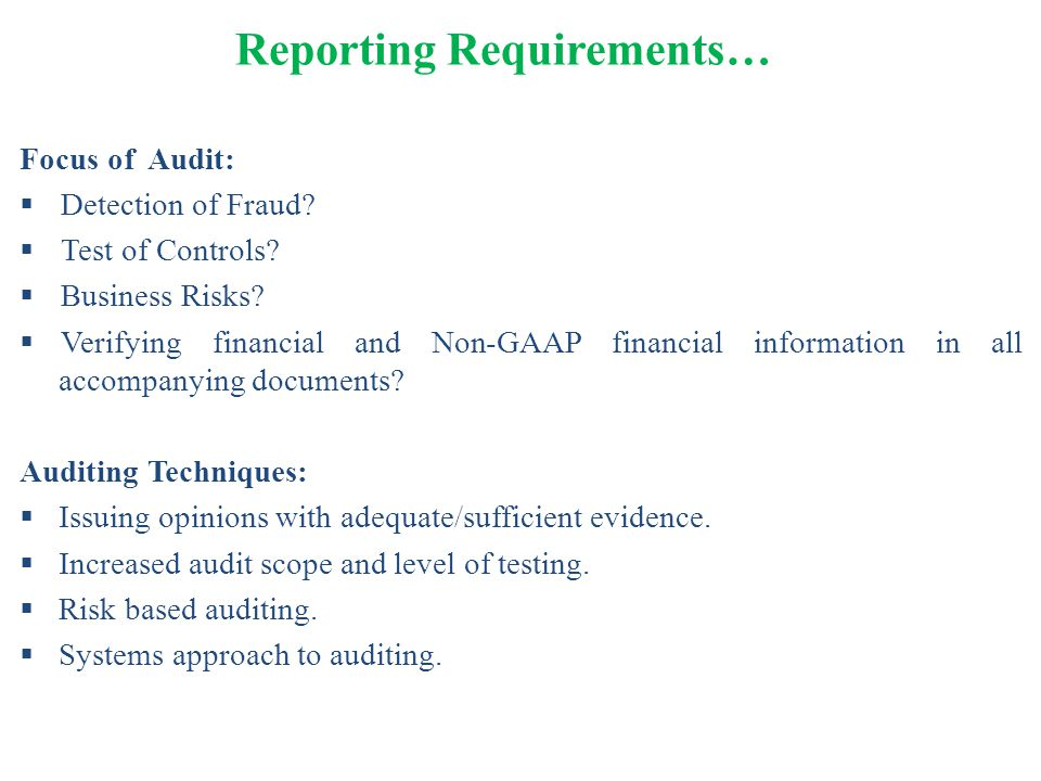 Reporting Requirements…
