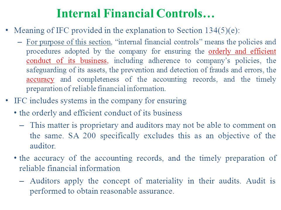 Internal Financial Controls…