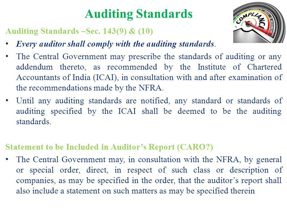 Auditing Standards Auditing Standards –Sec. 143(9) & (10)
