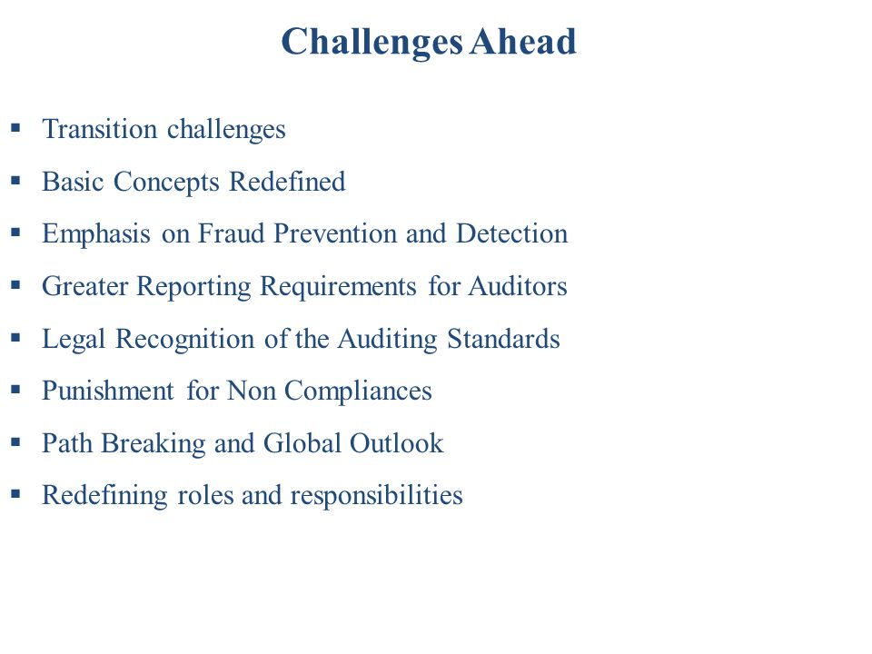 Challenges Ahead Transition challenges Basic Concepts Redefined