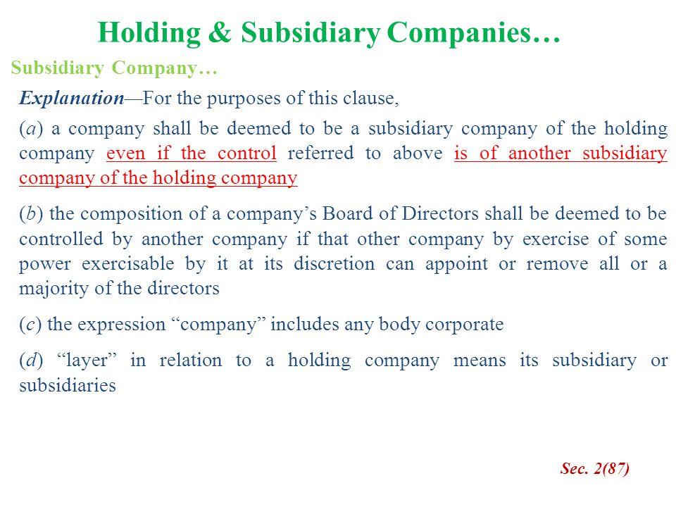 Holding & Subsidiary Companies…