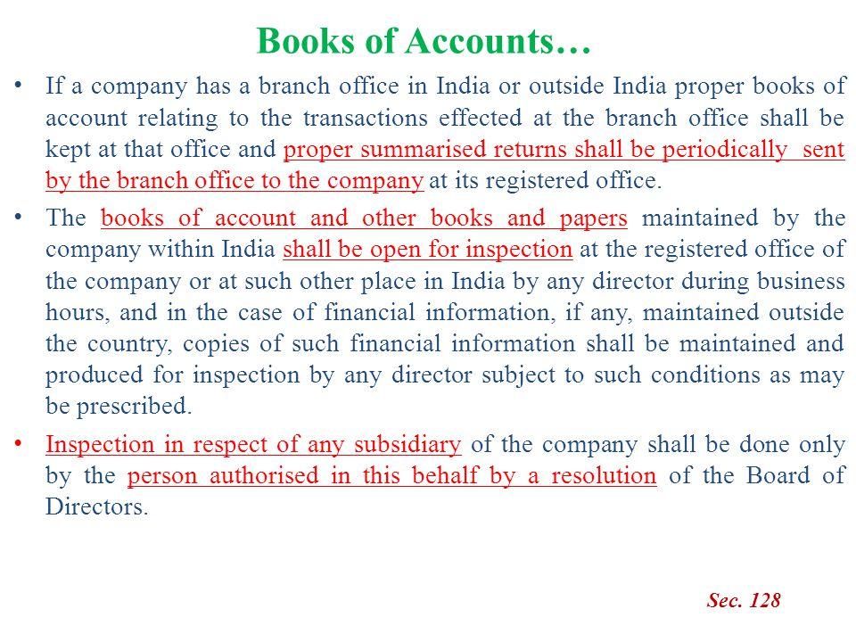 Books of Accounts…