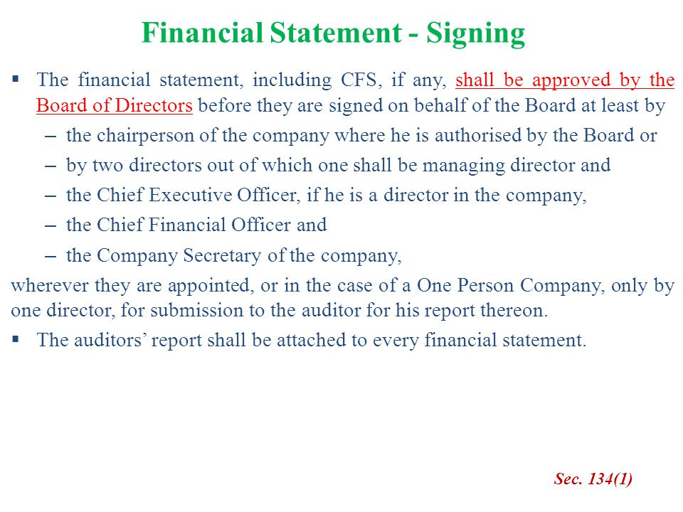 Financial Statement - Signing