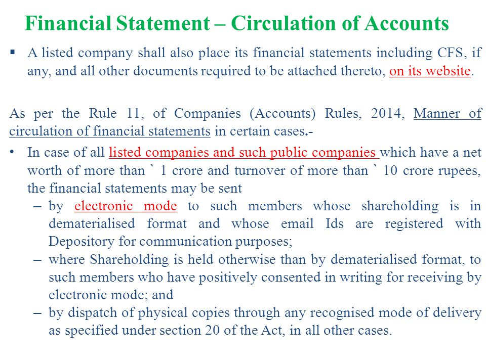 Financial Statement – Circulation of Accounts