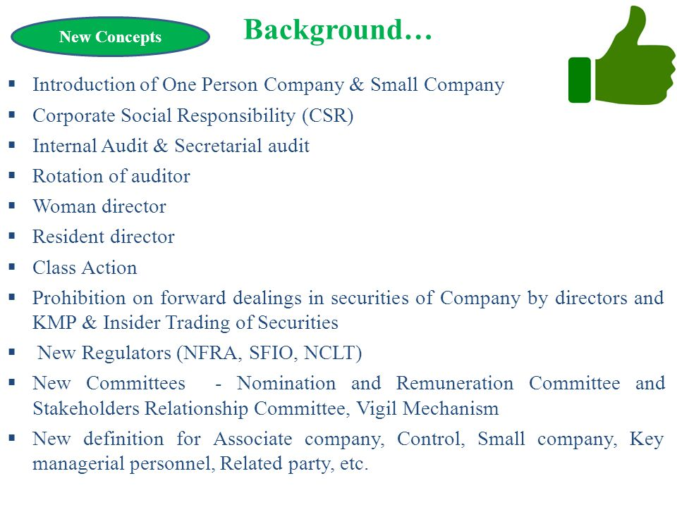 Background… Introduction of One Person Company & Small Company