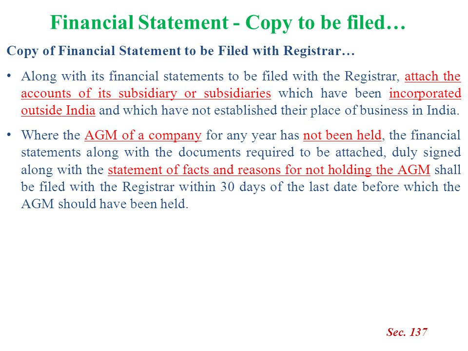 Financial Statement - Copy to be filed…