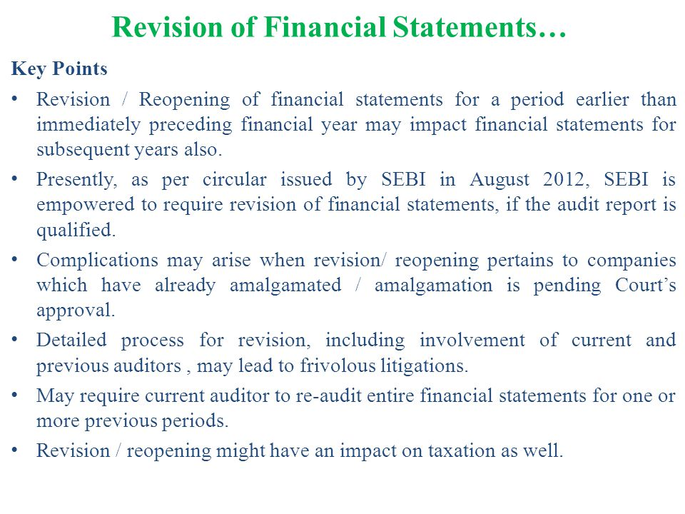 Revision of Financial Statements…