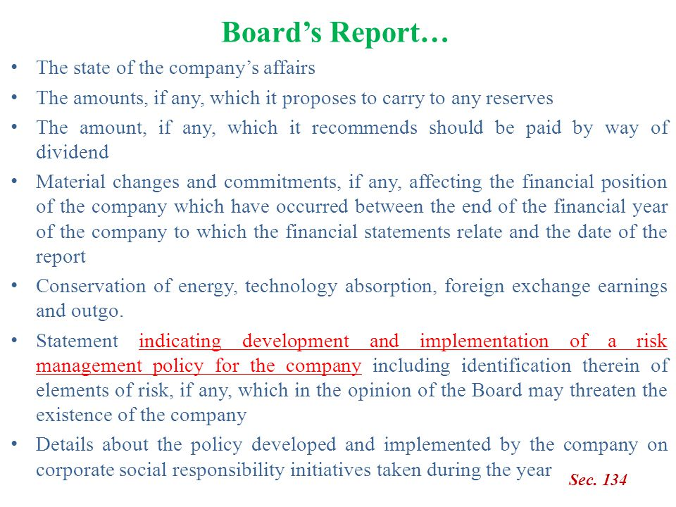 Board's Report… The state of the company's affairs
