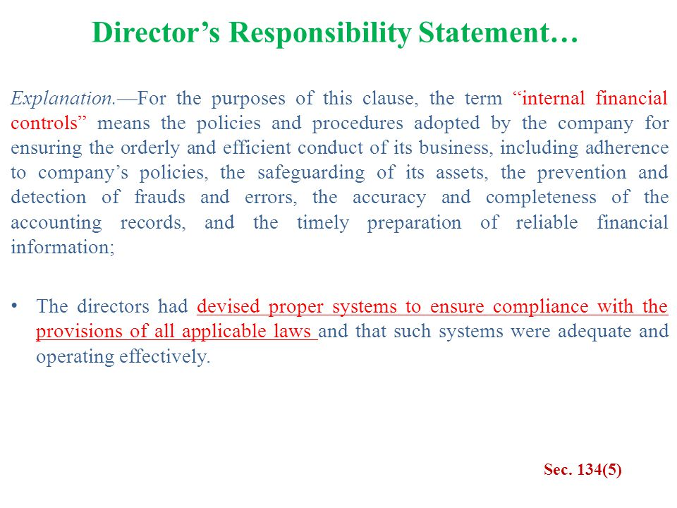 Director's Responsibility Statement…