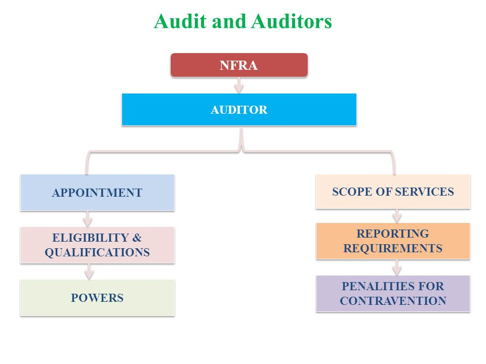 Audit and Auditors NFRA AUDITOR APPOINTMENT SCOPE OF SERVICES