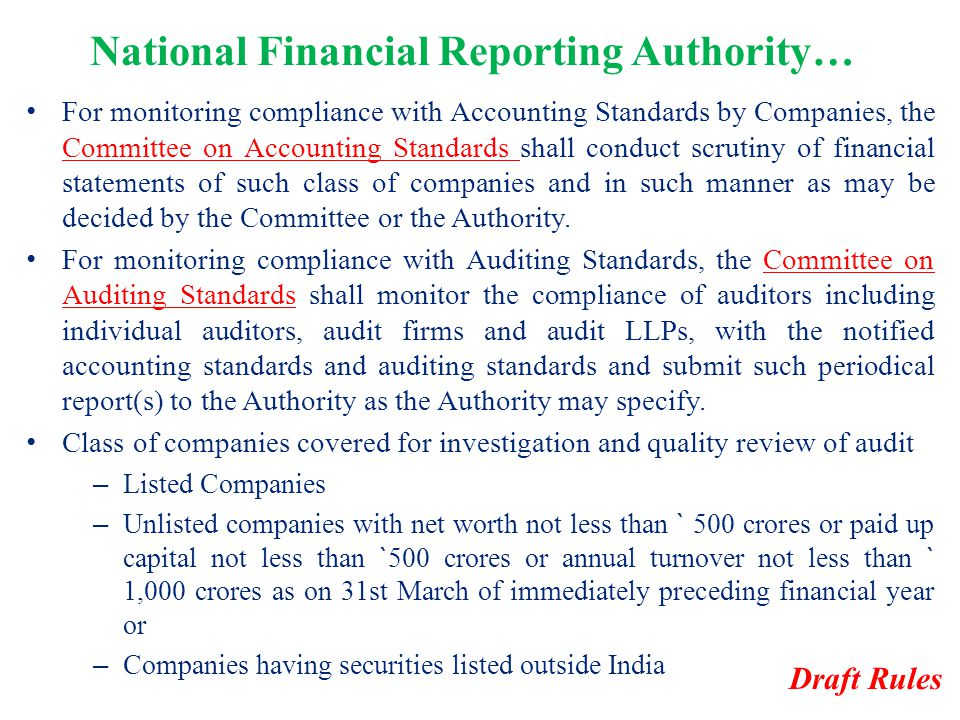 National Financial Reporting Authority…