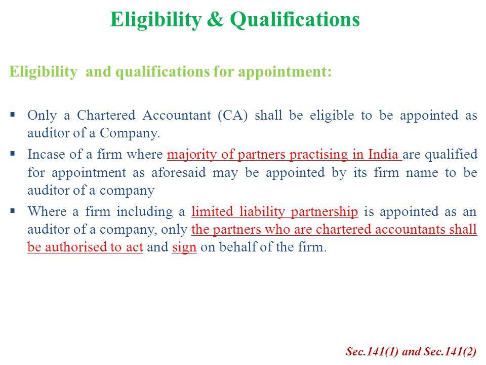 Eligibility & Qualifications