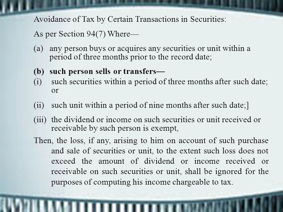 Avoidance of Tax by Certain Transactions in Securities: