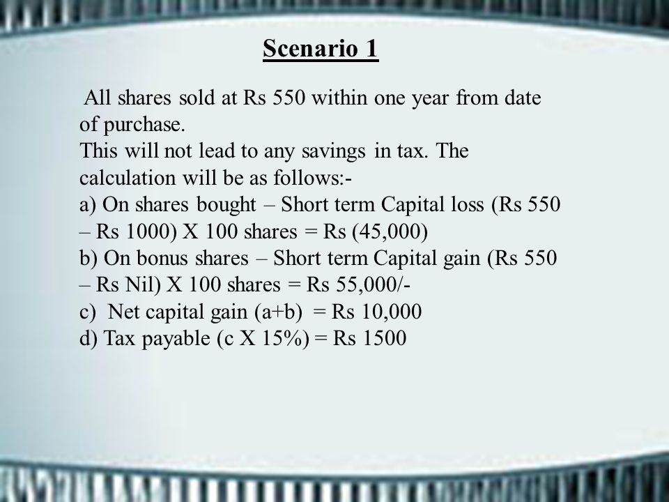 Scenario 1 All shares sold at Rs 550 within one year from date of purchase.