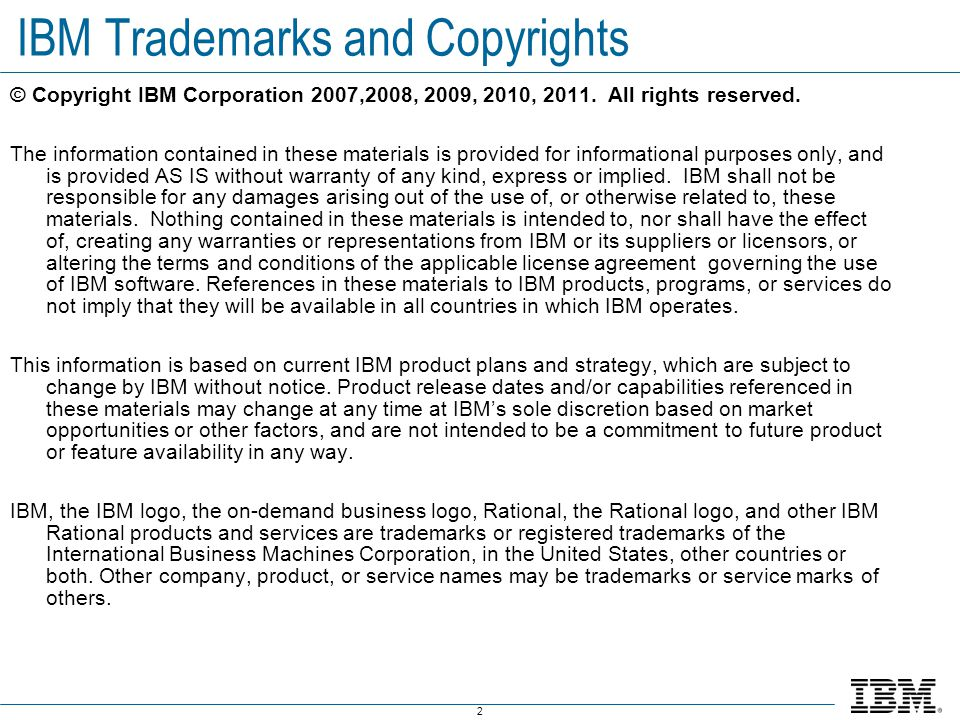 IBM Trademarks and Copyrights
