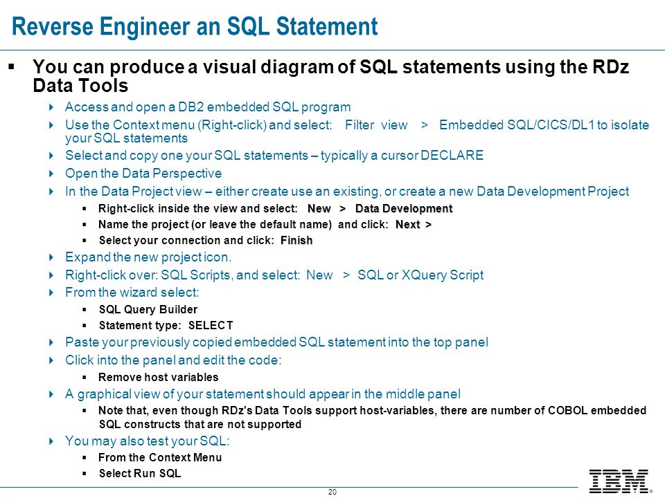 Reverse Engineer an SQL Statement