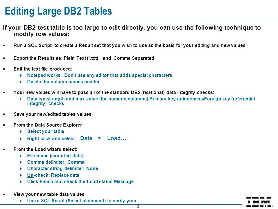 Editing Large DB2 Tables