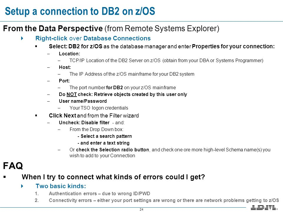 Setup a connection to DB2 on z/OS
