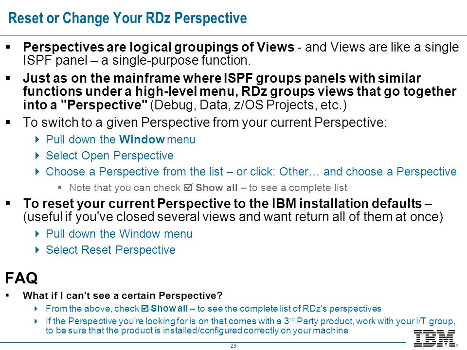 Reset or Change Your RDz Perspective
